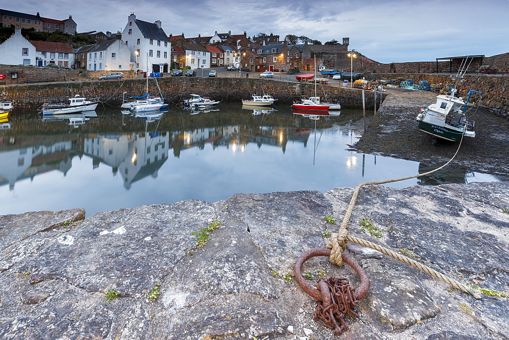 Fishing boats in the harbour at Crail at dusk, Fife, East Neuk, Scotland, United Kingdom, Europe