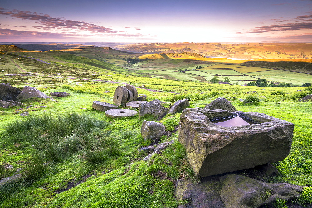 View over Stanage Edge millstones at sunrise, Peak District National Park, Derbyshire, England, United Kingdom, Europe