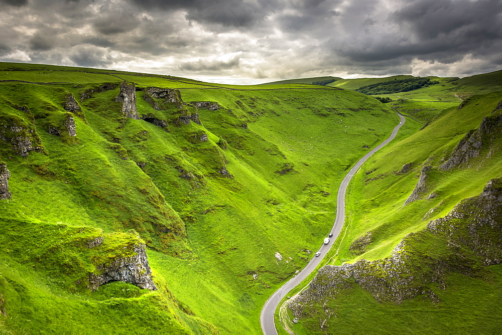 Winnats Pass near Castleton in the Peak District National Park, Derbyshire, England, United Kingdom, Europe