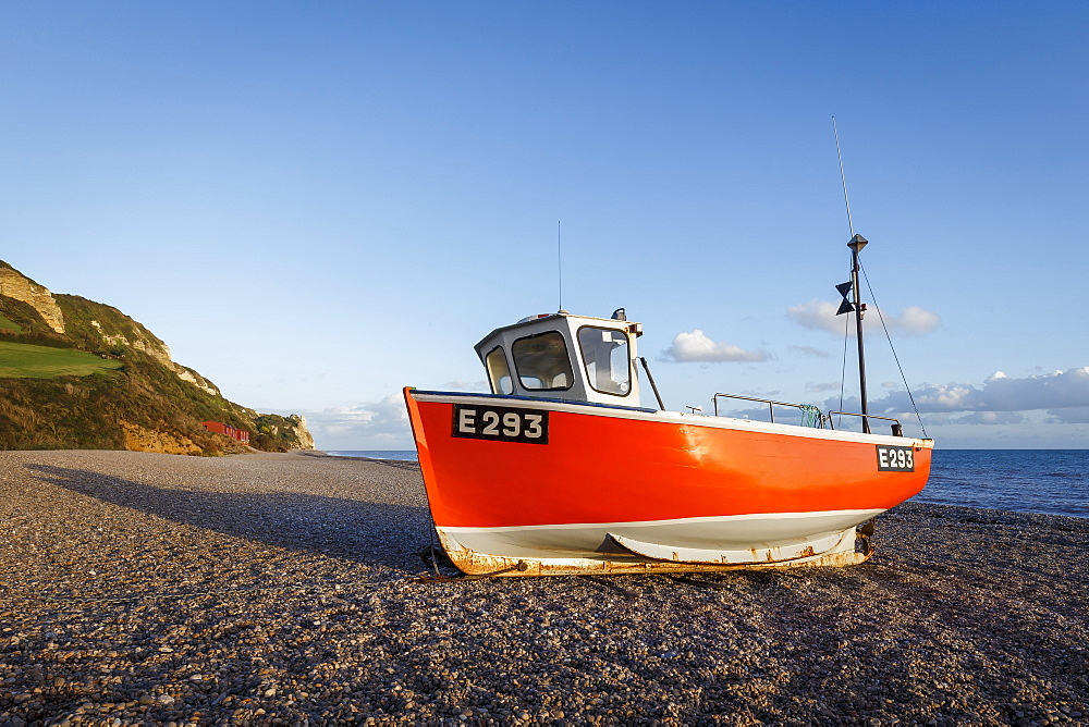 Fishing boat moored on Branscombe Beach at sunset, Seaton, East Devon, England, United Kingdom, Europe - 1213-74