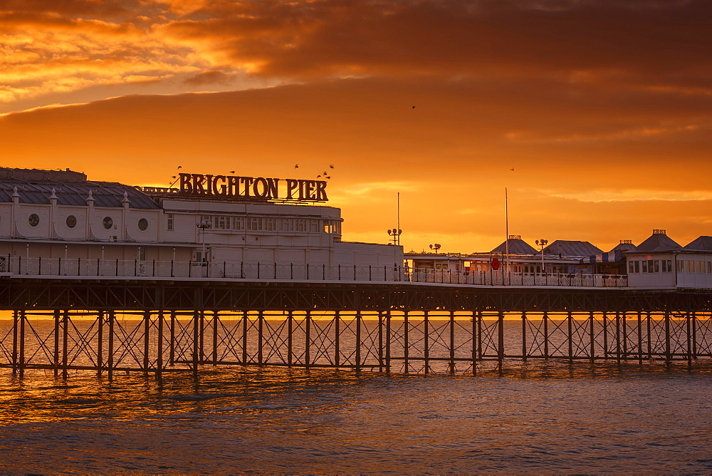Brighton Pier at sunrise, Brighton, East Sussex, Sussex, England, United Kingdom, Europe - 1213-80