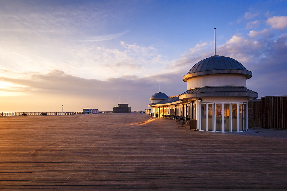 The pier at Hastings at sunrise, Hastings, East Sussex, England, United Kingdom, Europe - 1213-83