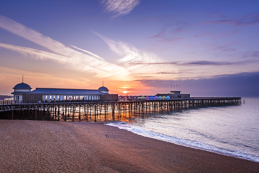 The pier at Hastings at sunrise, Hastings, East Sussex, England, United Kingdom, Europe - 1213-84