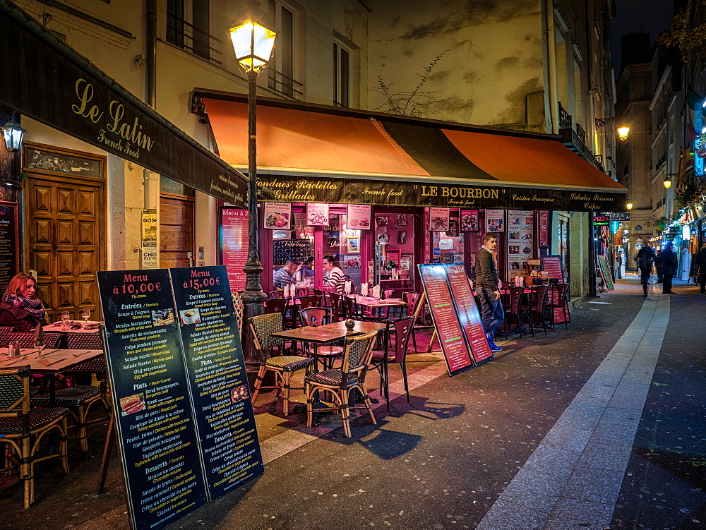 Parisian cafe and street scene, Paris, France, Europe