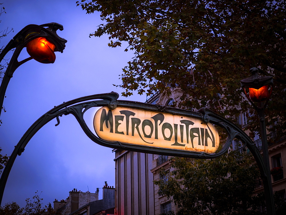 Paris Metro sign, Paris, France, Europe - 1215-23