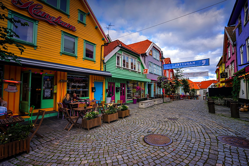 Colourful street, Ovre Holmegate, Stavanger, Norway, Scandinavia, Europe - 1215-31