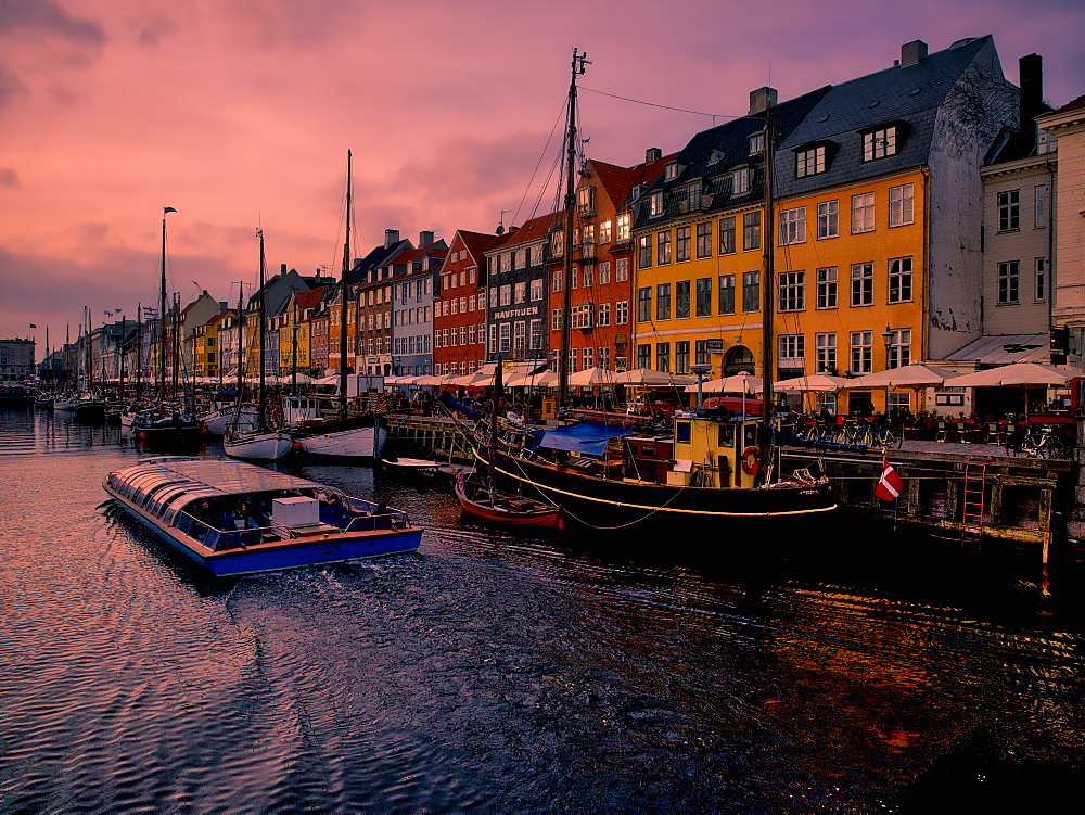 Sunset at Nyhavn, Copenhagen, Denmark, Scandinavia, Europe - 1215-49