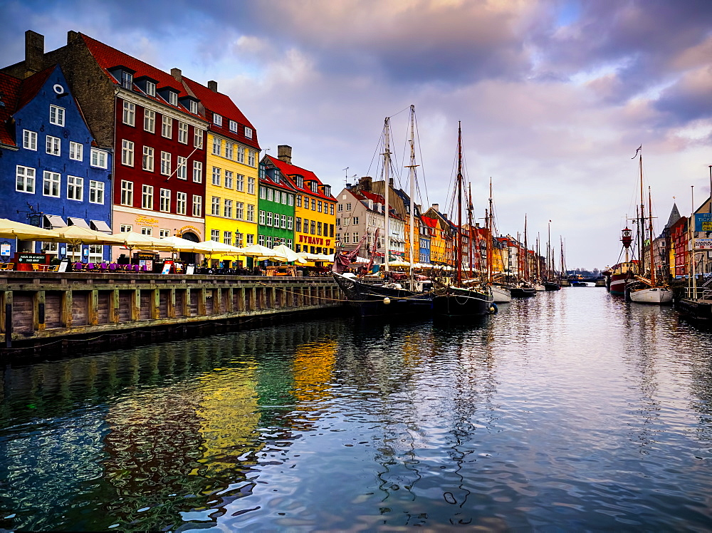 Sunset at Nyhavn, Copenhagen, Denmark, Scandinavia, Europe - 1215-51