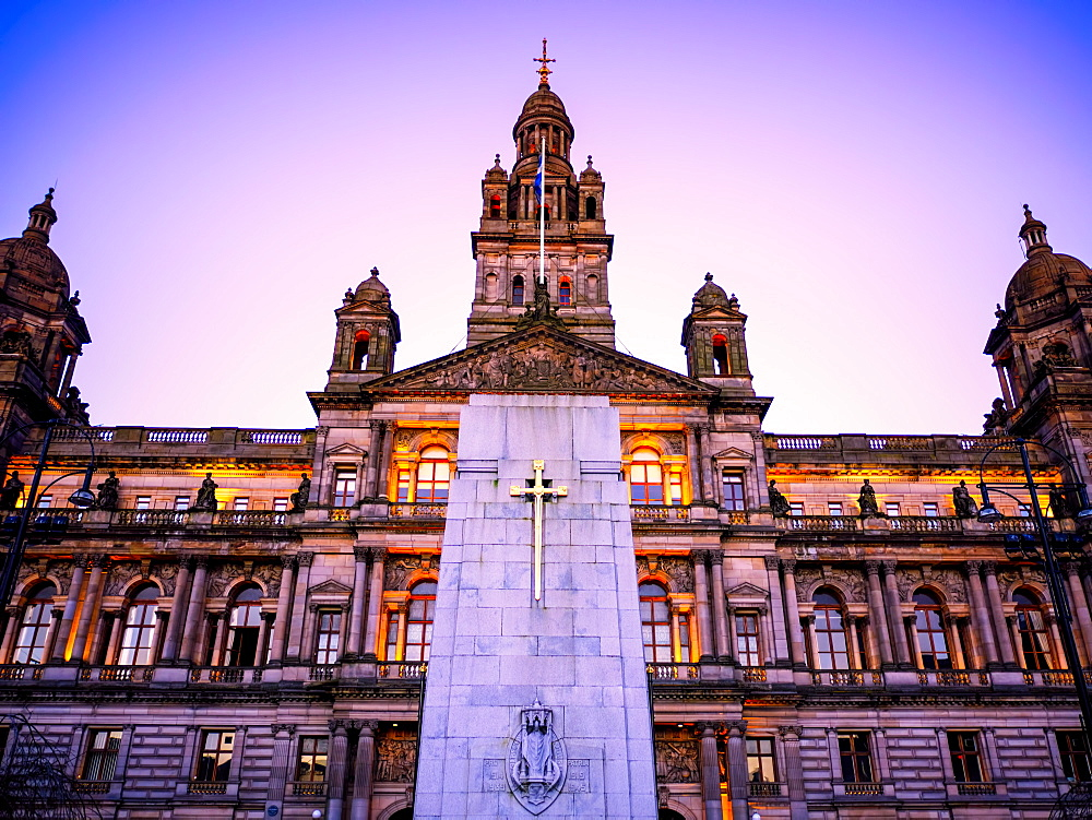 Glasgow City Chambers at sunset, Glasgow, Scotland, United Kingdom, Europe