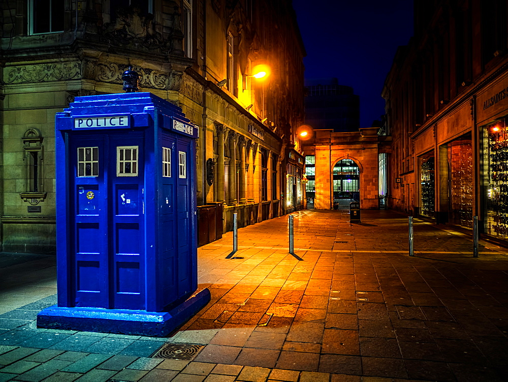 A Police box in Glasgow, Scotland, United Kingdom, Europe