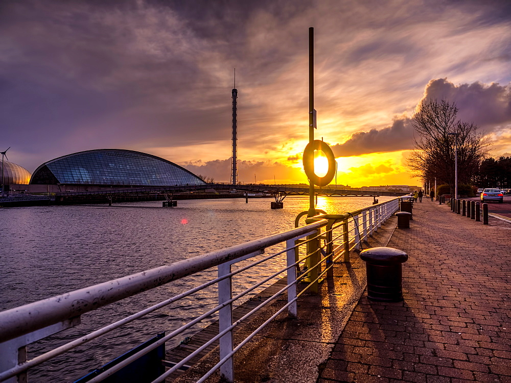 A stunning sunset over the River Clyde, Glasgow, Scotland, United Kingdom, Europe