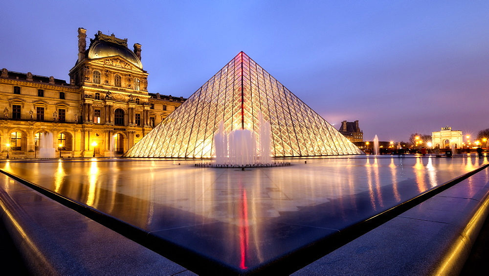 Louvre and Pyramide at dusk, Paris, France, Europe