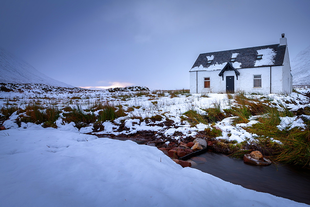 Glencoe Bothy in winter, Highland Region, Scotland, United Kingdom, Europe - 1216-212