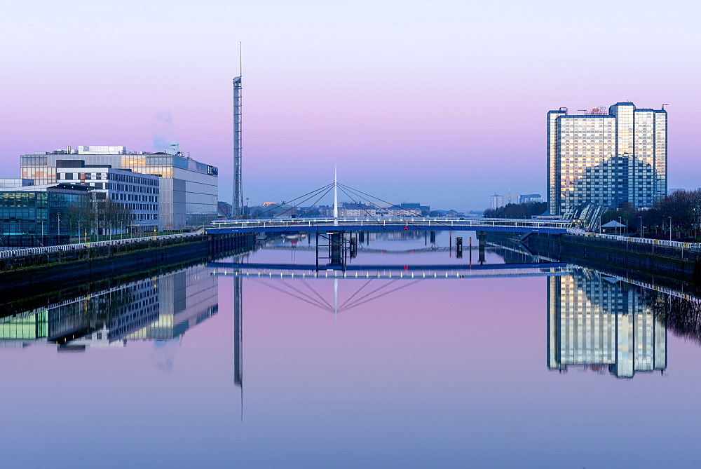 Pacific Quay at dawn, Glasgow, Scotland, United Kingdom, Europe