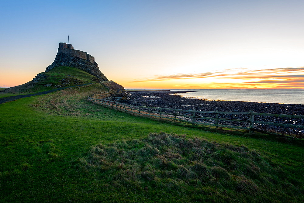 Lindisfarne Castle at sunrise, Holy Island, Northumberland, England, United Kingdom, Europe - 1216-242