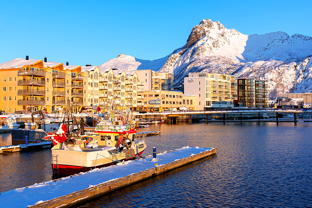 Svolvær on a sunny winter's day, Lofoten Islands, Nordland, Norway, Europe - 1216-427