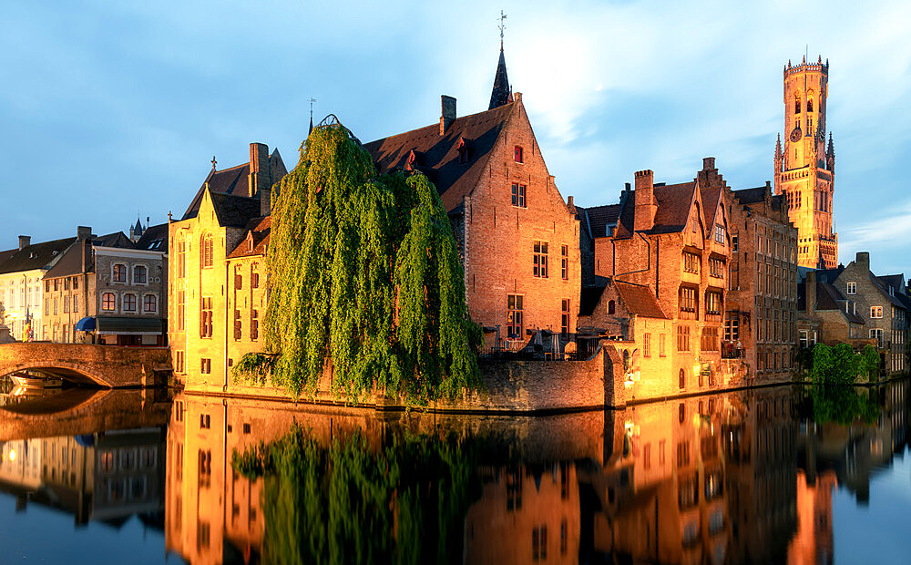 Medieval City Centre, UNESCO World Heritage Site, framed by Rozenhoedkaai canal at night, Bruges, West Flanders, Belgium, Europe - 1216-466