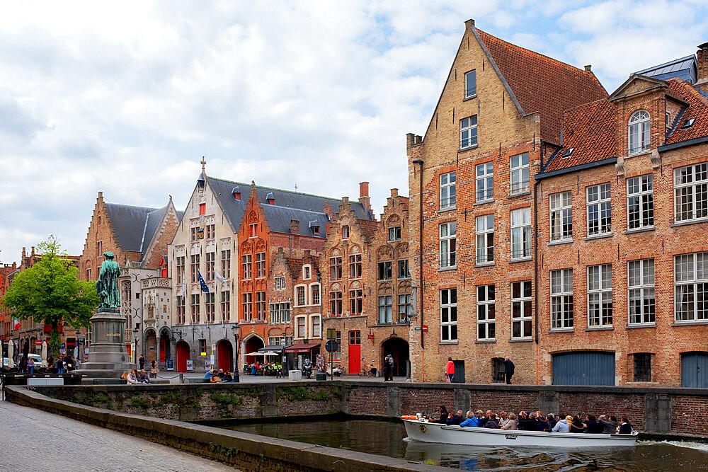Tourists on boat, Bruges (Brugge), Belgium, Europe