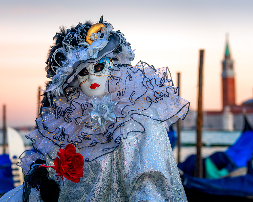 Model at the Venice Carnival, Venice, Italy, Europe
