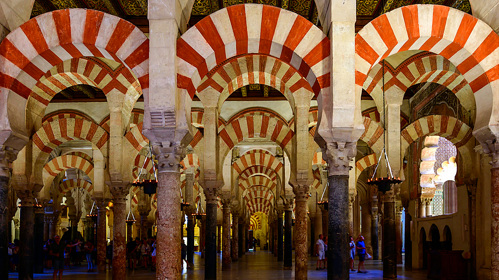 Decorated archways and columns of the Mezquita-Catedral (Great Mosque of Cordoba), UNESCO World Heritage Site, Cordoba, Andalusia, Spain, Europe - 1216-521