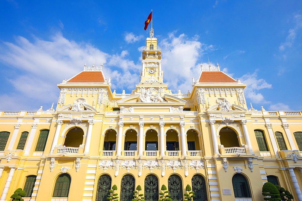 Colonial facade of Ho Chi Minh City Hall (Ho Chi Minh City People's Committee), Ho Chi Minh City (Saigon), Vietnam, Indochina, Southeast Asia, Asia