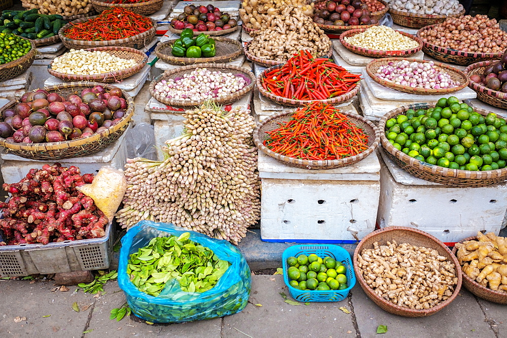 Vegetables for sale at Dong Xuan Market, Hoan Kiem District, Old Quarter, Hanoi, Vietnam, Indochina, Southeast Asia, Asia
