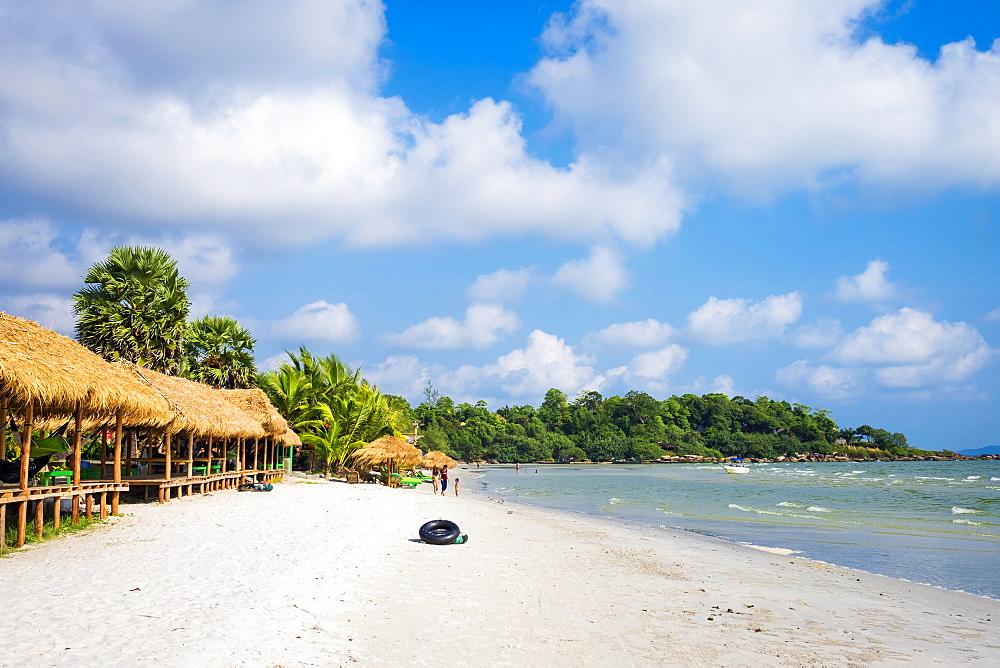 Thatched huts with hammocks along Ochheuteal Beach, Sihanoukville, Preah Sihanouk Province, Cambodia, Indochina, Southeast Asia, Asia