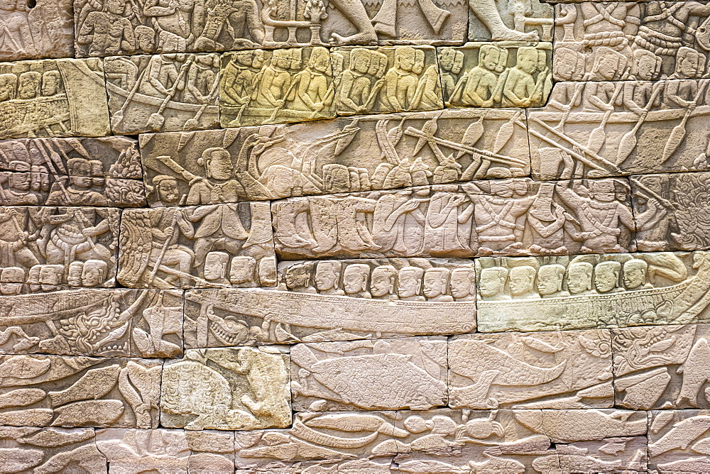 Bas-relief stone carvings depicting a sea battle, Banteay Chhmar, Ankorian-era temple ruins, Banteay Meanchey Province, Cambodia, Indochina, Southeast Asia, Asia