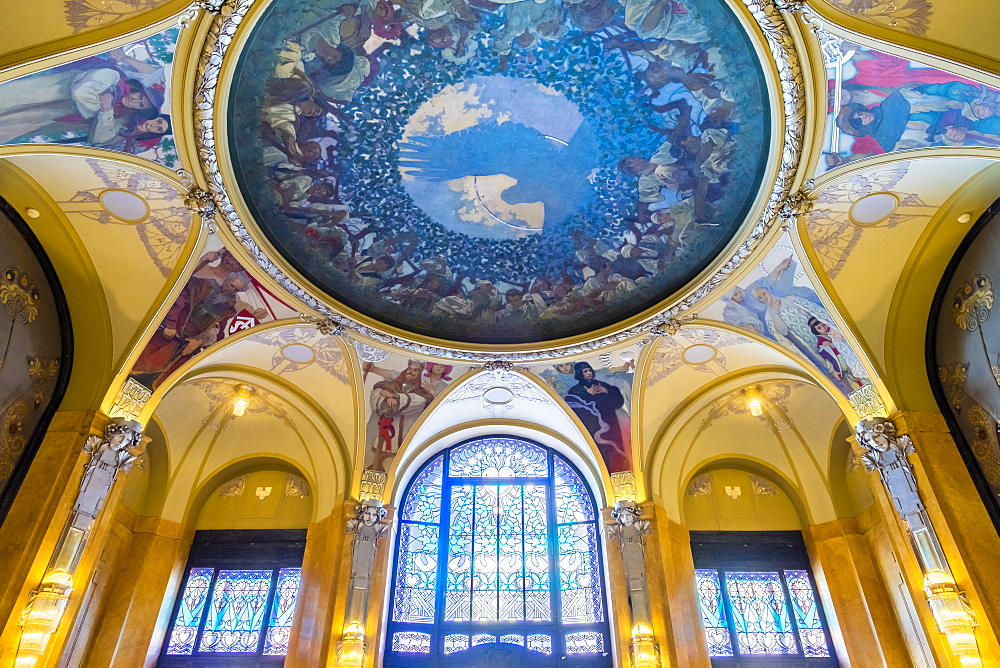 Czech Republic, Prague, Stare Mesto (Old Town). The Mucha Room at Municipal House (Obecni dum), designed entirely by Alphonse Mu