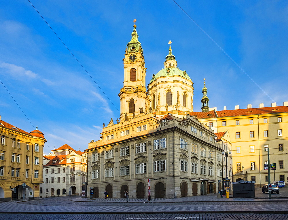 The Church of Saint Nicholas (Kostel svateho Mikulase) on Malostranska Namesti square, Mala Strana, Prague, Czech Republic, Europe