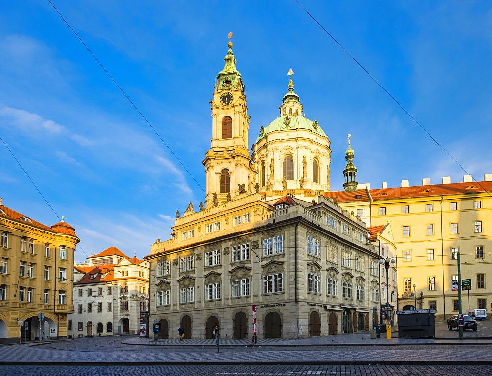 The Church of Saint Nicholas (Kostel svateho Mikulase) on Malostranska Namesti square, Mala Strana, Prague, Czech Republic, Europe - 1217-263