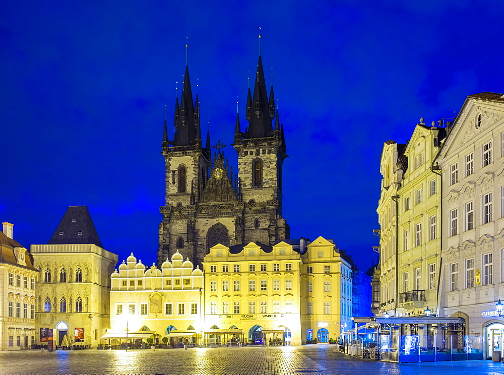 Czech Republic, Prague, Stare Mesto (Old Town). Tyn Cathedral on Starometske namesti, Old Town Square, at dawn.