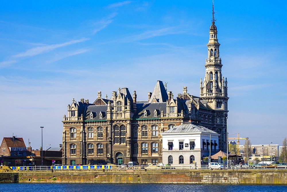 Loodsgebouw, Pilotage Building, located along the Scheldt River in the Eilandje district, Antwerp, Flanders, Belgium, Europe