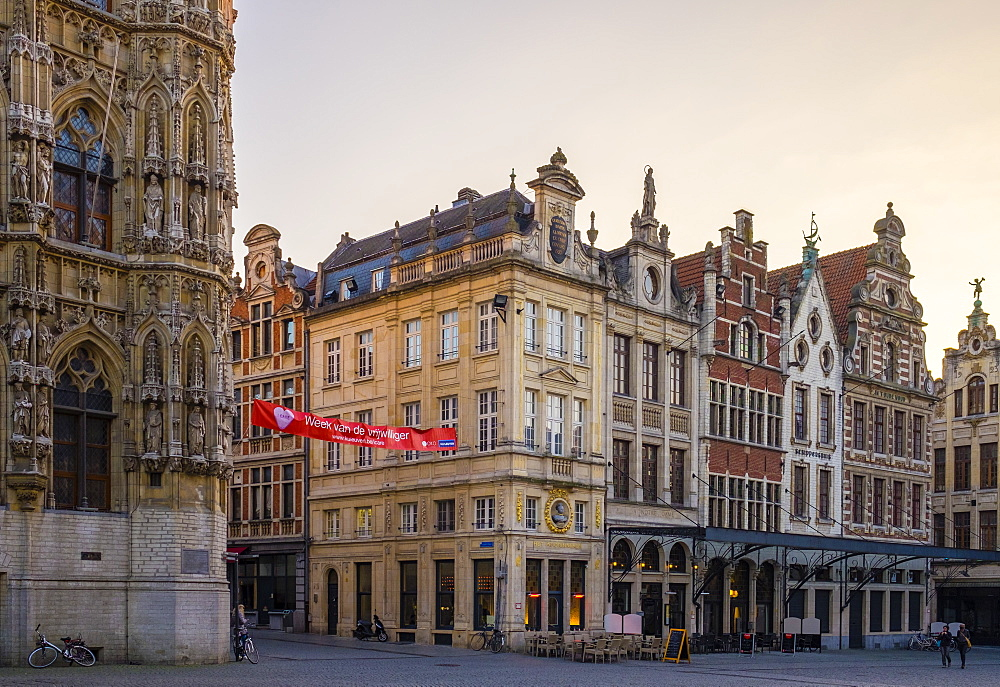 Flemish buildings on Grote Markt, Leuven, Flemish Brabant, Flanders, Belgium, Europe