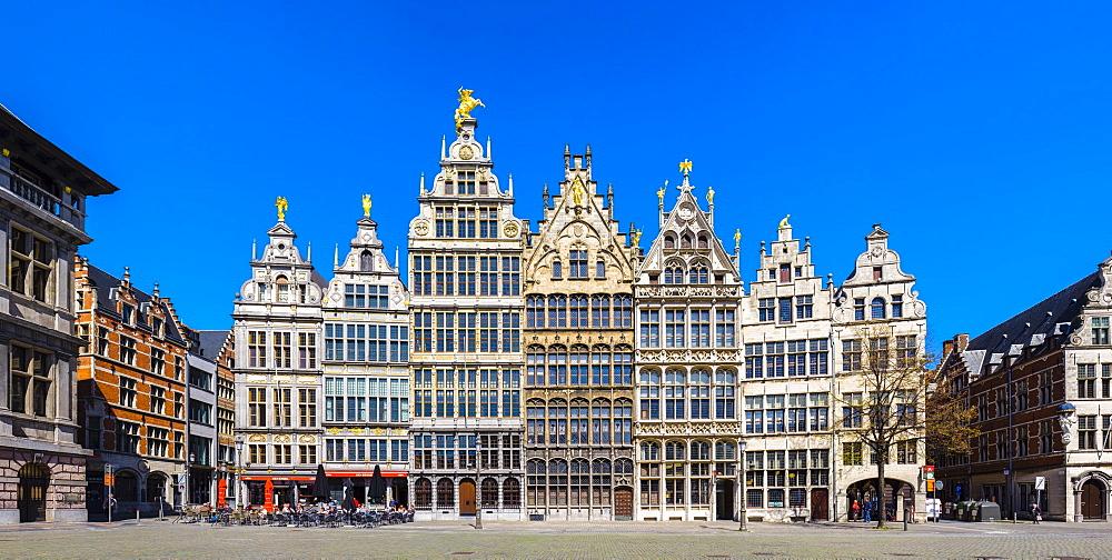 Medieval guild houses on Grote Markt, Antwerp, Flanders, Belgium, Europe