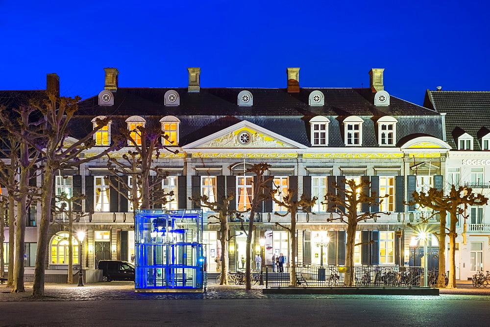 Theatre aan het Vrijthof on Vrijthof square at night, Maastricht, Limburg, Netherlands, Europe - 1217-283