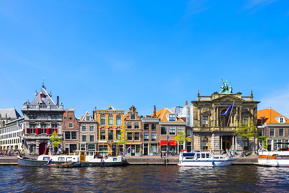 Buildings along the Spaarne River, including the Teylers Museum on the right, Haarlem, North Holland, Netherlands, Europe - 1217-299