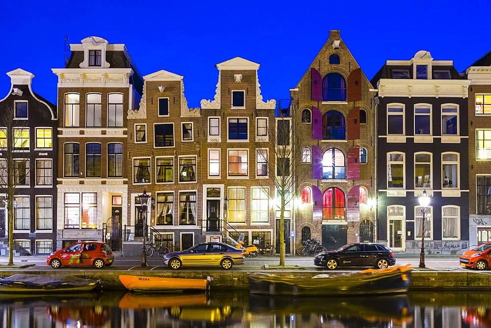 Canal houses on the Prinsengracht canal at dusk, Amsterdam, North Holland, Netherlands, Europe