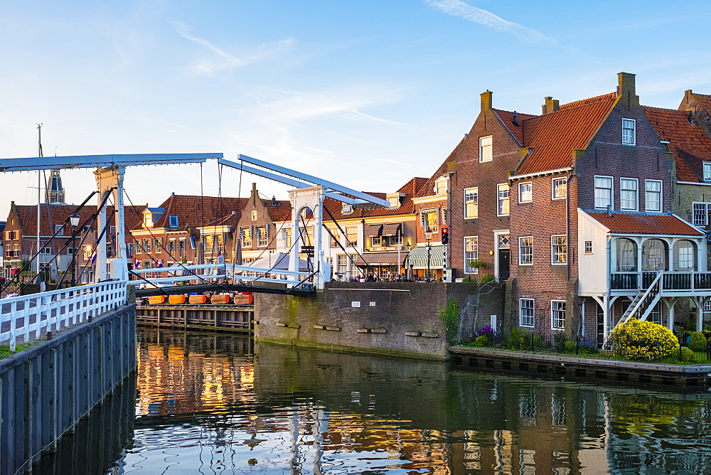 Drawbridge and historic houses at the entrance of the Oude Haven (Old Harbor), Enkhuizen, North Holland, Netherlands, Europe - 1217-310