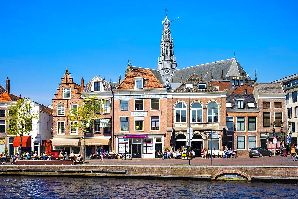 Buildings along the Spaarne River, Haarlem, North Holland, Netherlands, Europe - 1217-313