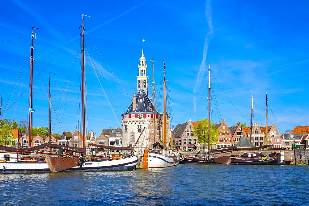 The Hoofdtoren tower on the Binnenhaven harbor, built in 1532, Hoorn, North Holland, Netherlands, Europe - 1217-316