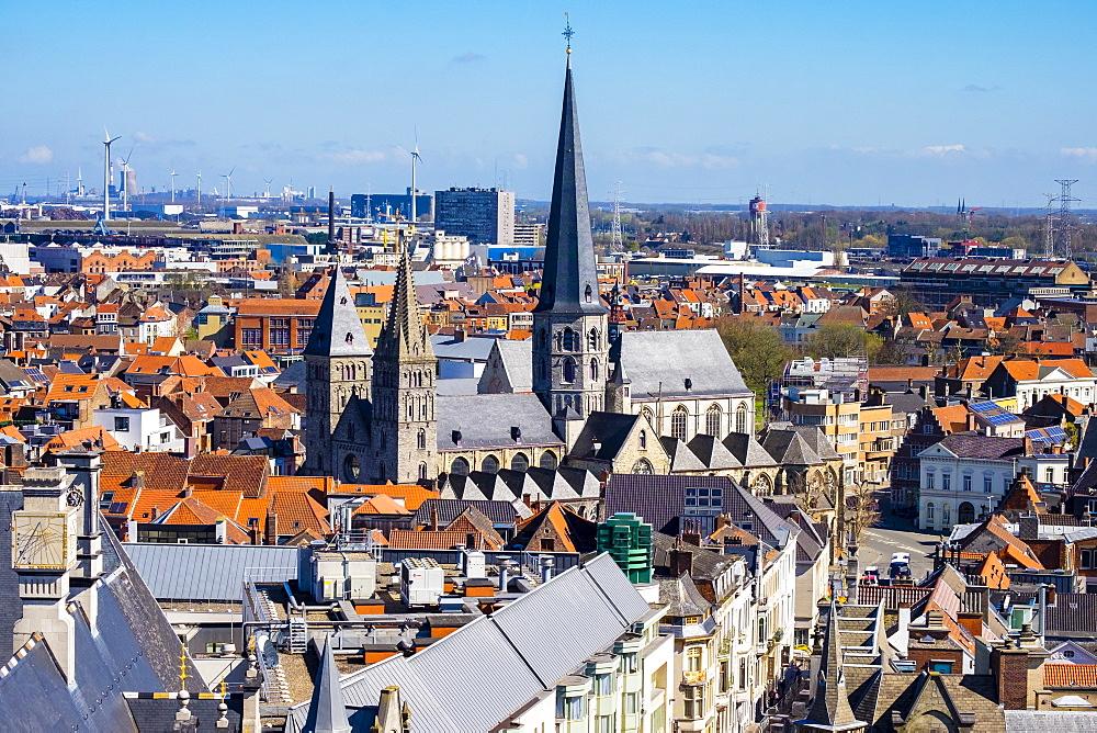 View of Ghent old town from Het Belfort van Gent, the 14th century belfry, Ghent, Flanders, Belgium, Europe