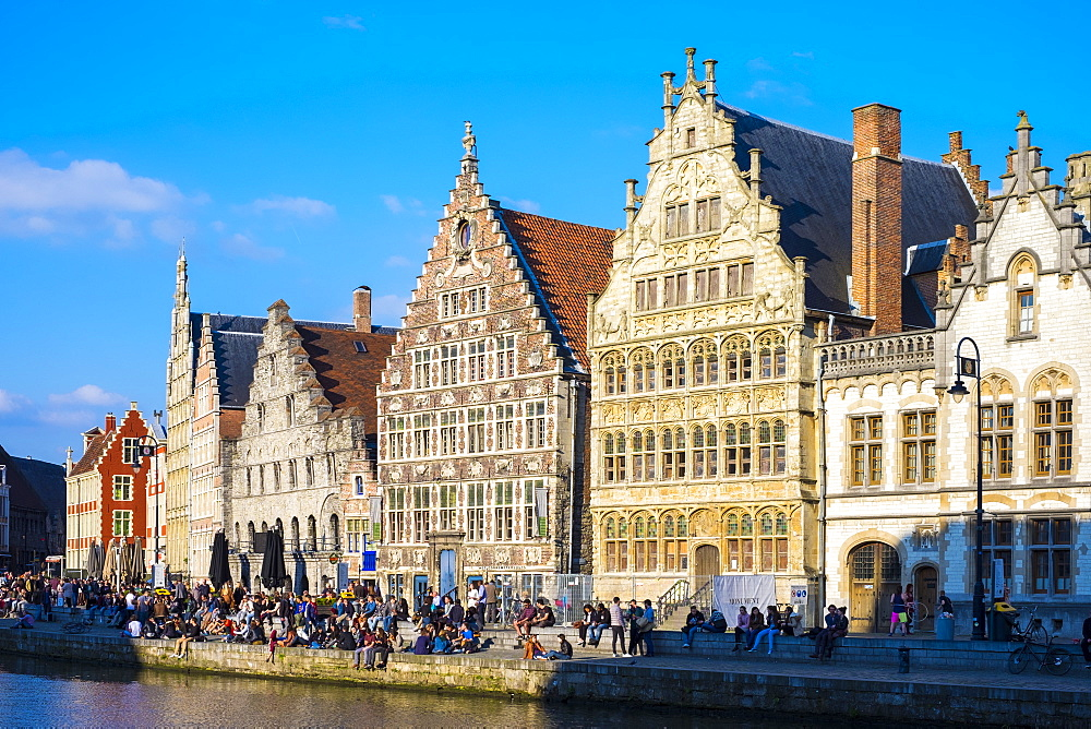 Medieval guild houses on Graslei and the Leie River, Ghent, Flanders, Belgium, Europe - 1217-325