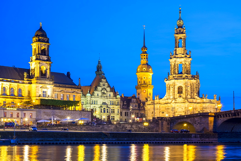 Altstadt (Old Town) skyline, historic buildings along the Elbe River at night, Dresden, Saxony, Germany, Europe - 1217-330