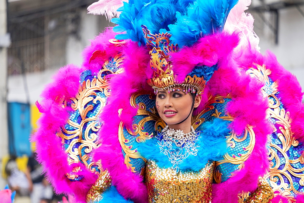 A female dancer in costume at the 2015 Dinagyang Festival, Iloilo City, Aklan, Western Visayas, Philippines, Southeast Asia, Asia