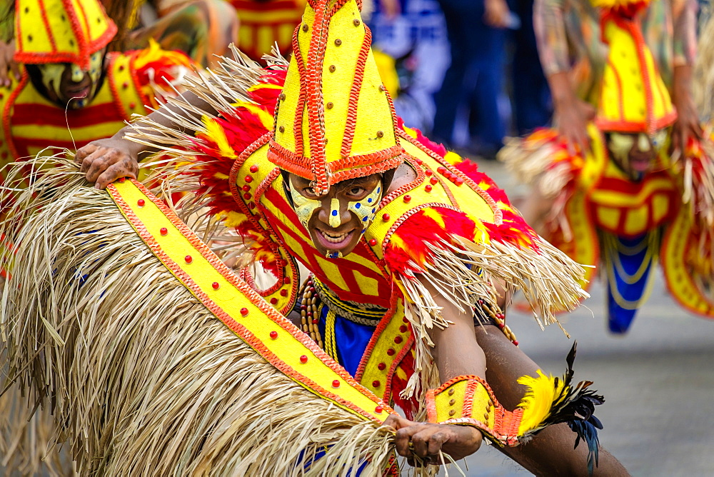 Ati warriors from Tribu Atub-Atub during the 2015 Dinagyang Festival, Iloilo City, Western Visayas, Philippines - 1217-373