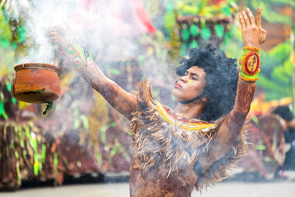 A young boy from Tribu Paghidaet performs during the 2015 Dinagyang Festival, Iloilo City, Western Visayas, Philippines - 1217-375