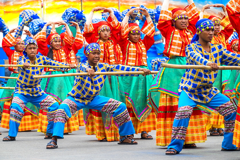 Performers from Tribu Tatusan of Caluya participate in the 2015 Dinagyang Festival, Iloilo City, Western Visayas, Philippines, Southeast Asia, Asia