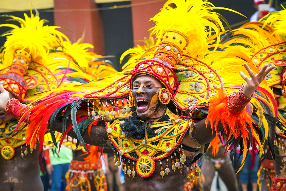 A member of Tribu Panayanon reacts during the 2015 Dinagyang Festival, Iloilo City, Western Visayas, Philippines, Southeast Asia, Asia