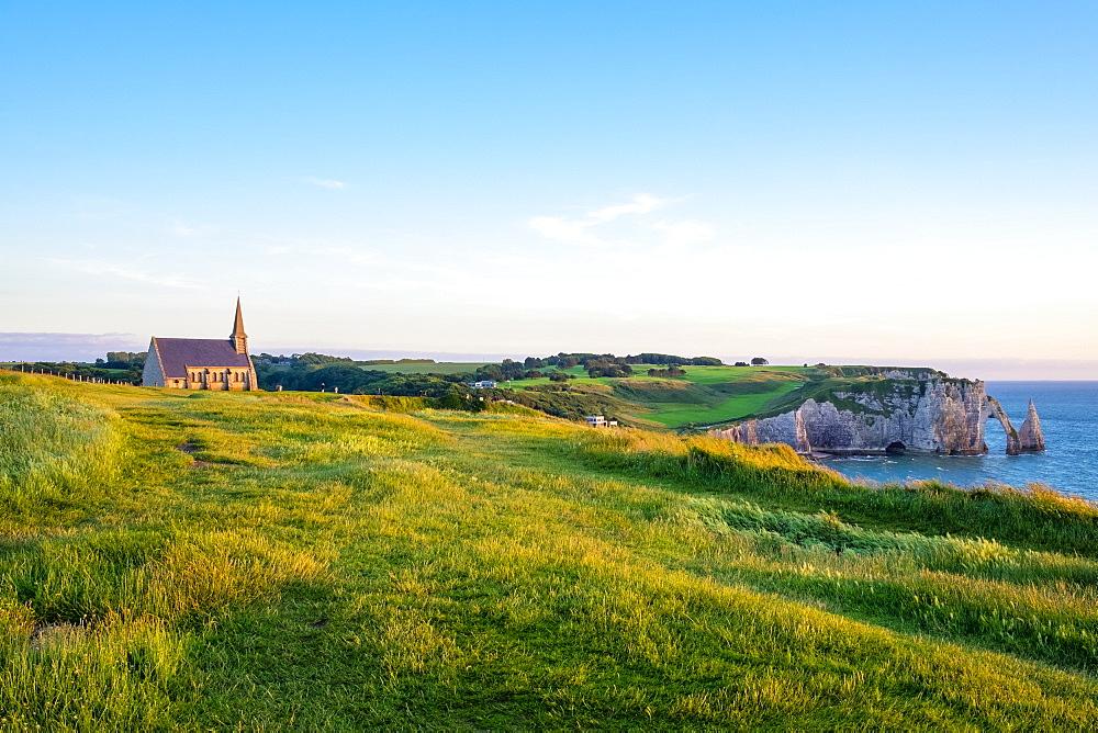 Chapelle Notre-Dame de la Garde chapel and white chalk cliffs, Etretat, Seine-Maritime, Normandy, France, Europe - 1217-383